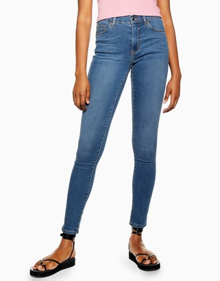 Topshop leigh jeans in mid wash blue