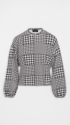Monrow Supersoft Fleece Houndstooth Sweatshirt