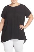 Vince Camuto Plus Size Women's High/low Short Sleeve Blouse