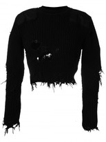 Yeezy destroyed cropped military rib jumper with patches