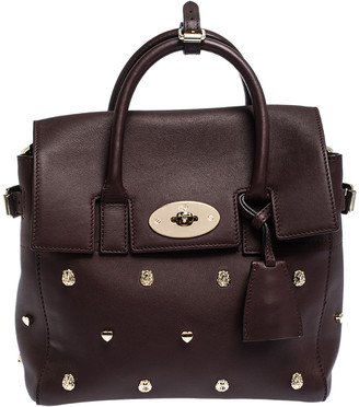 Mulberry Burgundy Leather Cara Delevigne Studded Convertible Satchel