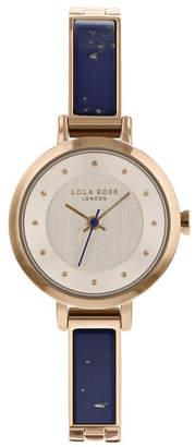 "Lola Rose Truthfulness"", Ladies, Genuine Blue Lapis Stone Semi Bangle Bracelet, 26MM"