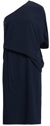 Halston Draped Asymmetric Sleeve Midi Dress