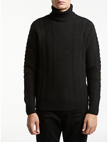 Edwin Roll Neck Knit Jumper, Black