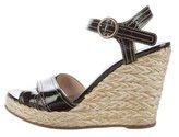 Prada Patent Leather Espadrille Wedge Sandals