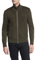 Tom Ford Suede-Front Merino Wool Jacket, Olive