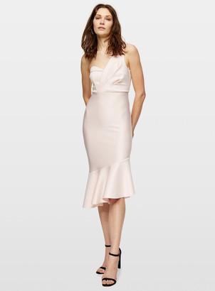 Miss Selfridge Pink One Shoulder Scuba Midi Dress
