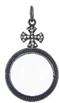 Erica Molinari Flared Maltese Cross Magnifying Glass with Diamonds - Sterling Silver