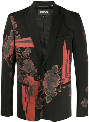 Just Cavalli Single Breasted Floral Print Blazer