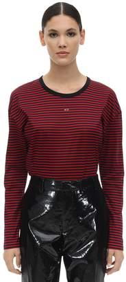 N°21 Striped Logo Cotton Jersey T-shirt