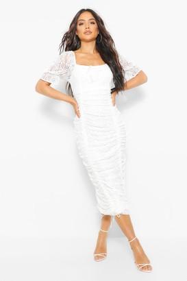 boohoo Lace Rouched Midi Dress