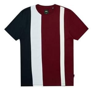 Burton Mens Burgundy Vertical Cut And Sew T-Shirt