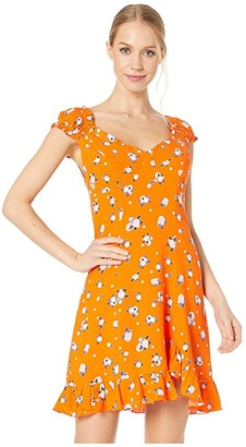 Free People Like a Lady Printed Mini (Orange) Women's Dress