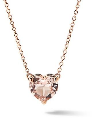 David Yurman Heart Pendant Necklace in 18K Rose Gold with Morganite