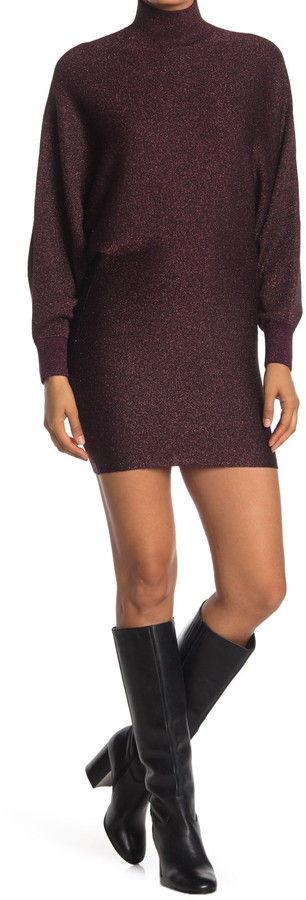 Alice + Olivia Bari Turtleneck Wool Blend Dolman Sleeve Sheath Dress