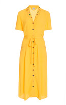 HVN Maria Button-Down Crepe Pajama Dress