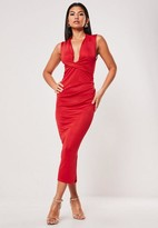 Missguided Red Bandage Drape Detail Midi Dress