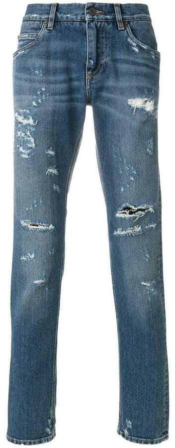 Dolce & Gabbana distressed regular fit jeans