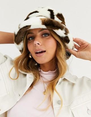 Asos Design DESIGN faux fur bucket hat in cow print-Multi