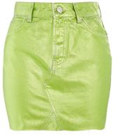 Topshop Moto green metallic mini skirt