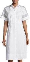 Lafayette 148 New York Galiana Sheer-Inset Shirtdress, White