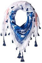 D&Y Women's Distressed American Flag Scarf with Tassels