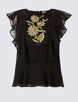 Per Una Embroidered Ruffle Round Neck Blouse