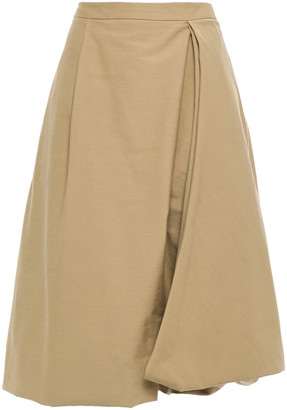Chalayan Flared Pleated Draped Cotton-blend Skirt
