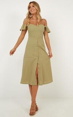 Showpo Chase The Stars Dress in khaki linen look - 6 (XS) Dresses