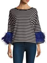 Pello Bello Striped Feather Sleeve Top