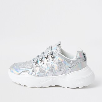 River Island Girls Silver holographic glitter trainers
