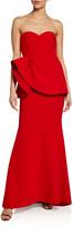 Badgley Mischka Asymmetric Peplum Crepe Bustier Gown