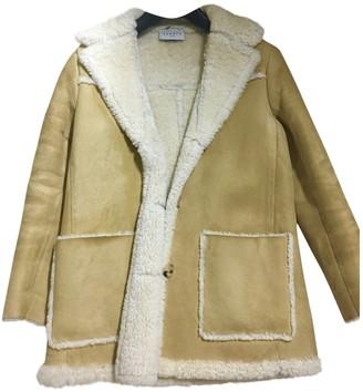Sandro Beige Leather Coat for Women