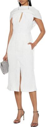 Roland Mouret Belem Cape-effect Silk-cloque Midi Dress