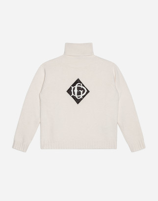 Dolce & Gabbana Turtle-Neck Sweater In Plain Knit Wool With Satin Detail