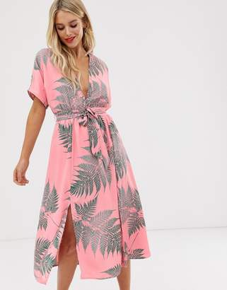 Glamorous midi tea dress with tie waist in palm print-Pink