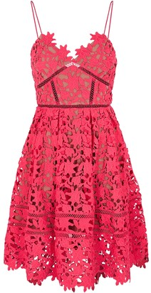 Self-Portrait Azaelea hot pink floral guipure lace mini dress