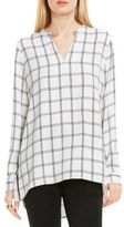 Vince Camuto Long-Sleeve Windowpane Tunic