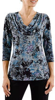 Haggar Petite Endless Forest Printed Cowl Neck Top