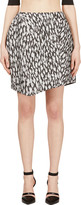 Thierry Mugler Black and White Leopard Jacquard Skirt