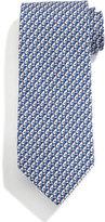 Salvatore Ferragamo Greyhound Dog-Print Tie, Blue/Coral