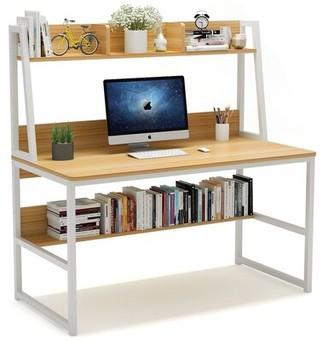 Inbox Zero Computer Desk With Hutch And Bookshelf Color (Top/Frame): Light Walnut/White
