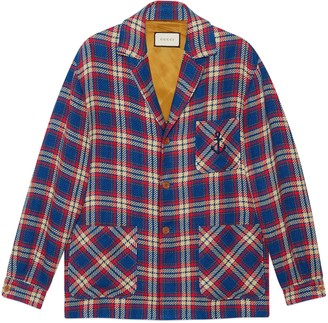 Gucci Check cotton linen jacket with anchor