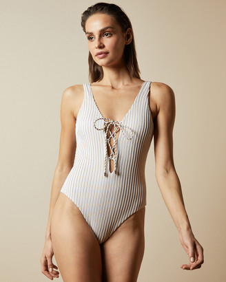 Ted Baker HONNEY Plunge swimsuit with self-tie bow