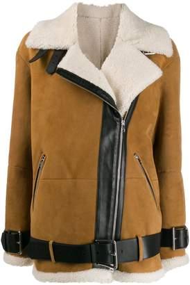 Blancha oversized belted biker jacket