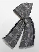 Calvin Klein Womens Allover Lurex Grid Blanket Scarf Grey