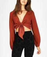 Don't Ask Amanda Mayflower Tie Front Top Redwood