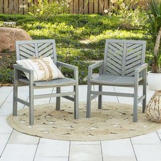 Skoog Chevron Patio Dining Chair Breakwater Bay Color: Gray Wash