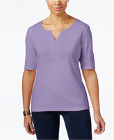 Karen Scott Cotton Split-Neck T-Shirt, Created for Macy's