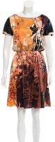 Alice + Olivia Watercolor Printed Silk Dress